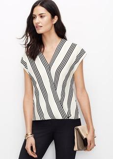 Petite Striped Wrap Top