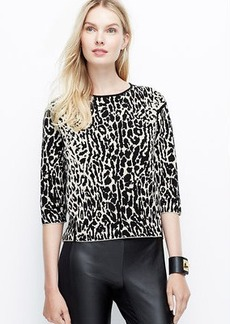 Petite Structured Leopard Pullover