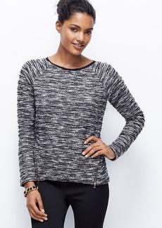Petite Tweed Zip Sweatshirt