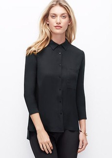 Petite Woven Front Button Down Shirt