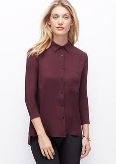 Petite Woven Front Button Down Shirt