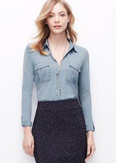 Petite Woven Trim Button Down Shirt