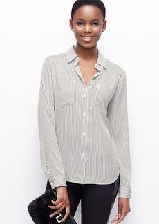 Stripe Crepe Button Down Shirt