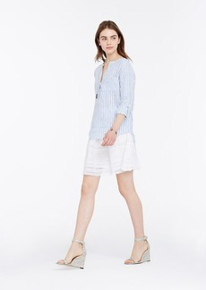 Striped Linen Split Neck Tunic