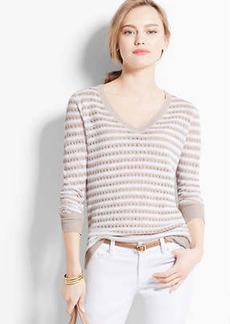 Striped Open Stitch Linen Sweater