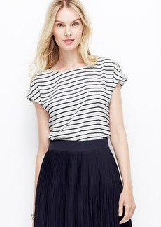 Striped Shoulder Zip Crepe Top