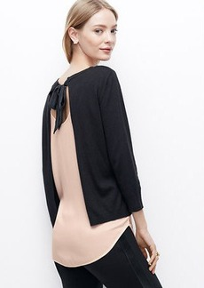 Two-in-One Open Bow Back Sweater
