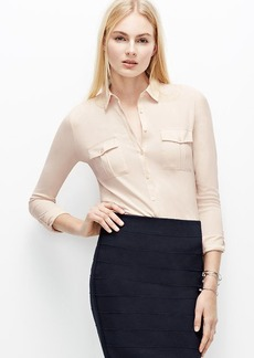 Woven Trim Button Down Shirt