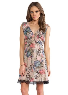 Anna Sui Cabbage Rose Print Dress in Beige