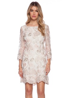 Anna Sui Deco Embroidered Mesh Mini Dress