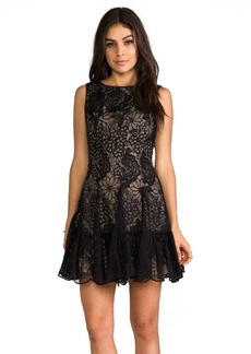 Anna Sui Floral Embroidered Mini Dress