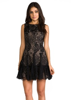Anna Sui Floral Embroidered Mini Dress in Black