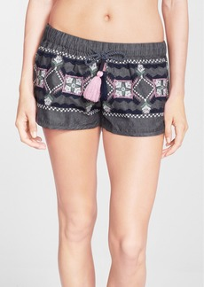 Anna Sui for O'Neill 'Eureka' Embroidered Cotton Shorts