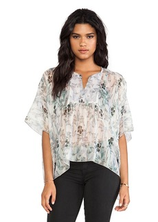 Anna Sui Iris Print Batwing Blouse in Blue