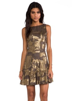 Anna Sui Klimt Print Tank Dress in Metallic Gold