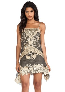 Anna Sui Maiden Faire Lace Tank Dress in Metallic Gold