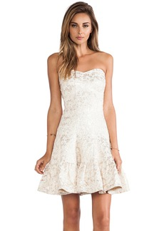 Anna Sui Metallic Daisy Jacquard Strapless Dress