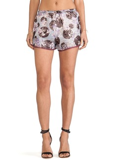 Anna Sui Moonlight Floral Print Shorts in Purple