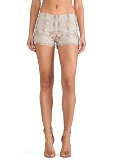Anna Sui Rose Border Embroidered Shorts