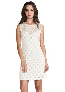 Anna Sui RUNWAY Lace With Diamond Beading Tank Dress in Cream