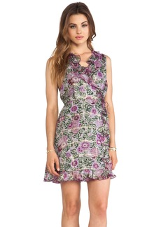 Anna Sui Sunflowers Print V Neck Dress