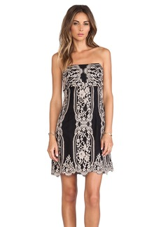 Anna Sui Two Tone Eyelash Lace Strapless Dress