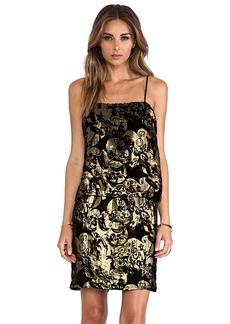 Anna Sui Village Burnout Mini Dress in Black