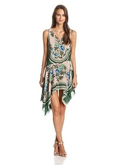 Anna Sui Women's Botanical-Print Silk Asymmetrical-Hem Dress