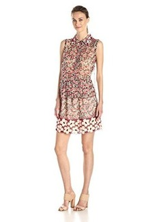 Anna Sui Women's Cherry Print Crinkle Chiffon Convertible Dress