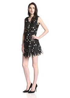 Anna Sui Women's Diamond Deco Lace Intarsia Shift Dress