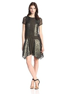 Anna Sui Women's Floral Metallic Jacquard and Lace Netting Dress