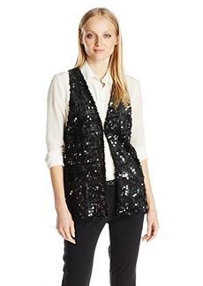 Anna Sui Women's Sequin Faux-Fur Vest