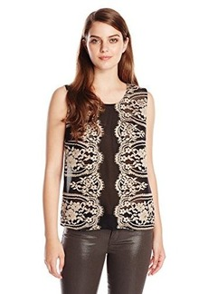 Anna Sui Women's Two Tone Eyelash Lace Top