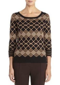 3/4 Sleeve jacquard pullover