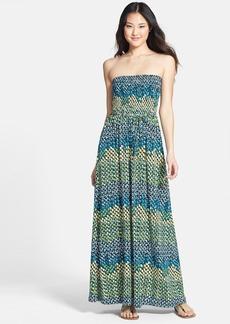 Anne Klein Abstract Dot Print Strapless Maxi Dress (Regular & Petite)