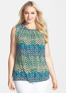 Anne Klein Abstract Dot Print Tie Back Top (Plus Size)