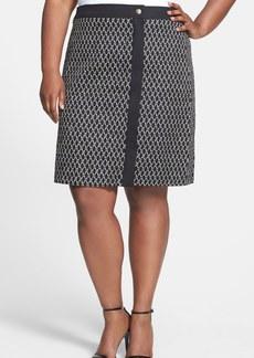 Anne Klein Basket Weave A-Line Cotton Skirt (Plus Size)