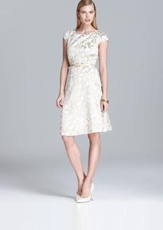 Anne Klein Belted Swing Dress - Cap Sleeve Printed