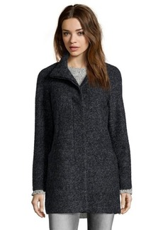 Anne Klein black and charcoal boucle wool blend button front coat