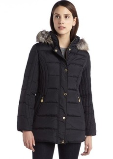 Anne Klein black quilted down filled coat with faux fur trimmed hood
