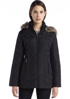 Anne Klein black quilted down filled faux fur hooded zip front jacket