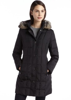 Anne Klein black quilted down filled faux fur trim hooded coat