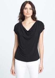 Anne Klein Button Shoulder Drape Front Top (Petite)