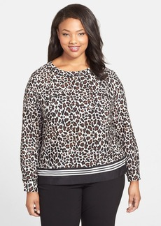 Anne Klein Collarless Animal Print Blouse (Plus Size)