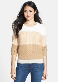 Anne Klein Colorblock Crewneck Cable Sweater