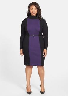 Anne Klein Colorblock Rib Knit Turtleneck Dress (Plus Size)