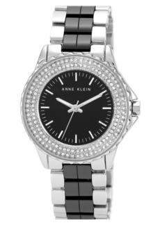 Anne Klein Crystal Bezel Ceramic Link Bracelet Watch, 36mm