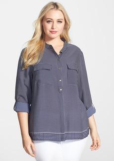 Anne Klein Dot Print Roll Sleeve Blouse (Plus Size)