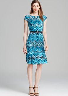 Anne Klein Dress - Cap Sleeve Aztec Print Belted Swing