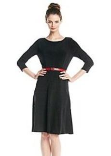 Anne Klein® Elbow Sleeve Belted Swing Dress